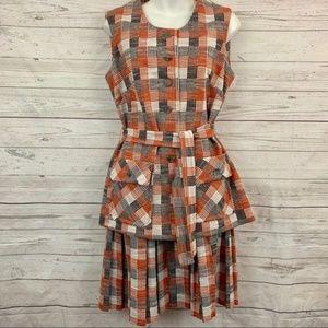 Vintage 3 Piece Set 60s 1960s plaid skirt vest
